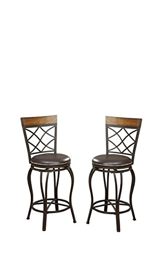 Poundex PDEX-F1417 Bobkona Lorelei 24 Seat Height Swivel Bar Stool, Brown, Set of 2