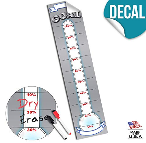 Goal Setting Fundraising Donation Thermometer - 48x11- Dry Erase Reusable Paper Poster - Fundraiser Milestone Company Goals Chart - Office Wall Temperature Posters Charts (Grey) ()