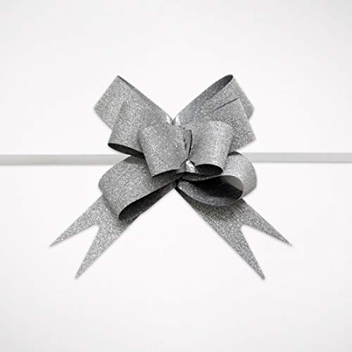 20 PCS Pull Bow,Medium, 4 Inches,Sparkling Bow, Wedding Decorations, Christmas Gift Ribbons, 20 pcs,Sparkling (Silver)