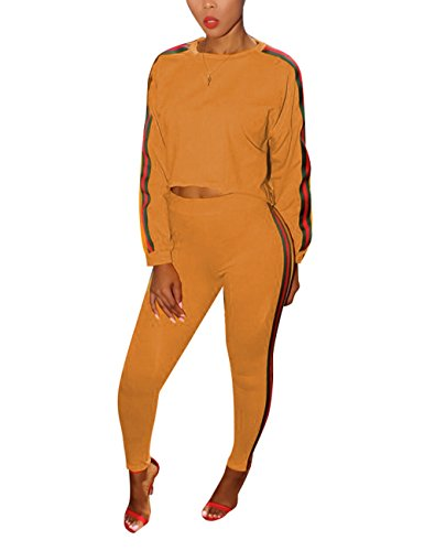 Casual Long Sleeve Pullover Sweater and Pants Sweatshirt Tracksuits 2 Pieces outfits for Ladies Orange Small