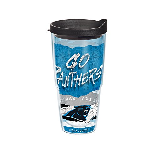 Tervis 1230529 NFL Carolina Panthers NFL Statement Tumbler with Wrap and Black Lid 24oz, Clear