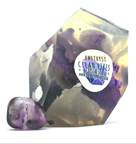 (Amethyst Glycerin Soap With A Real Crystal Stone In Each Vegan Bar Lavender Essential Oil Scented -)