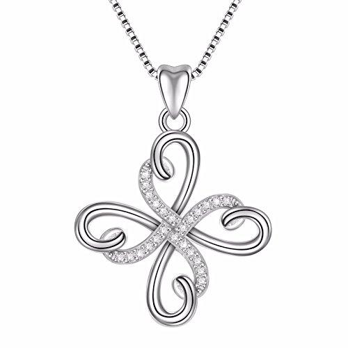 (Angemiel 925 Sterling Silver Heart Infinity Symbol Holy Jesus Cross Pendant Necklace 18