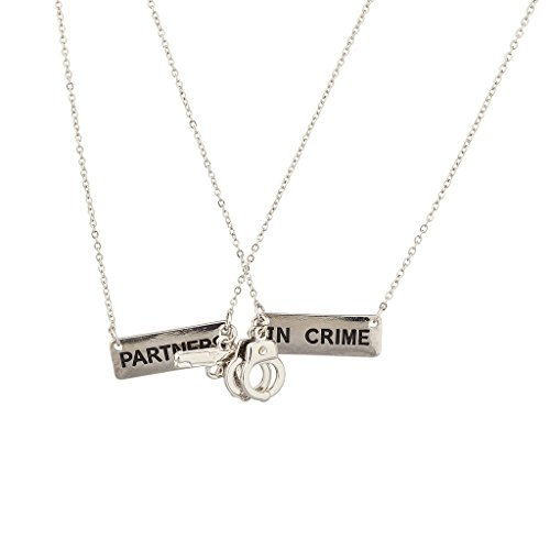 Lux Accessories Silvertone Partners in Crime Handcuff Hand Cuff Gun BFF Best Friends Forever Matching Long Distance Necklace Set