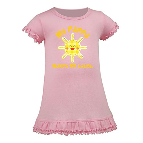 Inktastic   My Pappa Makes Me Laugh A Line Baby Dress 12 Months Baby Pink