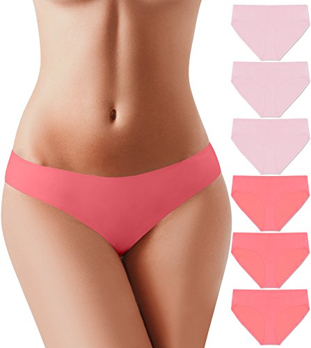 (BUBBLELIME Bikini Panties for Women Microfiber Low Rise No Show Pantie, (Set6) 3pack Indipink 3pack Crushcoral, X-Small)