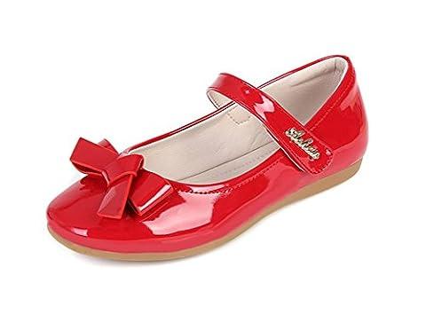 Always Pretty Flower Ballet Flat Dress Shoes Princess Shoes (Toddler/Little Kid/Little Girls) Red 12 M