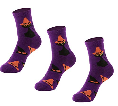 Natural Underwear Halloween Costume Socks Kids Youth Socks Purple Halloween Scary Small Bamboo Crew Socks Comfort Luxury Healthy Socks