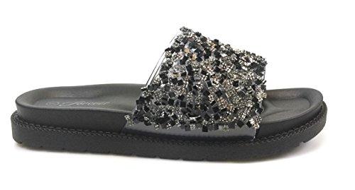 Forever Link Mujeres Glitter Slide En Pvc Moldeado Plantilla Flatform Sandalias Zapatillas Negro