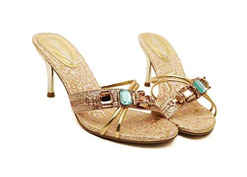 De 1 Alto Diamantes Mujer Con Sandalias Para Imitación Tacón Meili qvpFwAxHn5
