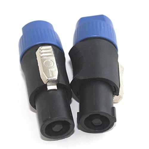 Foitech 2 Pcs Speakon 4 Pole Male Plug Compatible Audio Cable Connector Blue Color