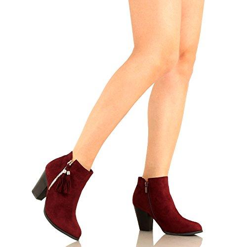 Guilty Schuhe Damen Blockabsatz Geschlossene Zehe - Riemchen Stiefeletten Winev6 Wildleder