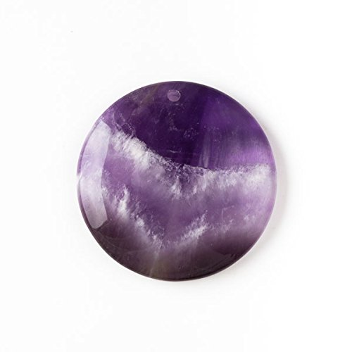 Cherry Blossom Beads Amethyst 40mm Top Front to Back Drilled Coin Pendant with a Flat Back