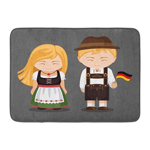 (fox-kyt Doormats Bath Rugs Outdoor/Indoor Door Mat Germans in National Dress Flag Man and Woman Traditional Bavarian Costume Travel to Germany People Bathroom Decor Rug 16 24)