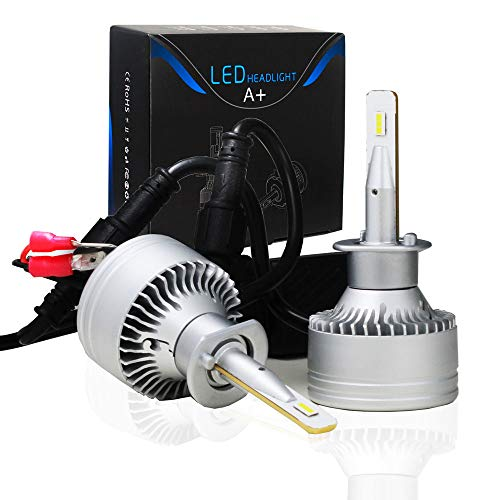 (CREST HEAVEN H1 Led Headlight Bulbs Super Bright Led Headlamp Conversion Kit with Fan Waterproof 6000KCool White 2-Pack)