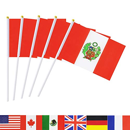 TSMD Peru Stick Flag, 50 Pack Hand Held Small Peruvian National Flags On Stick,International World Country Stick Flags Banners,Party Decorations for World Cup,Sports Clubs,Festival Events Celebration