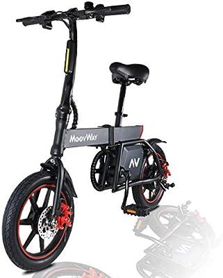MoovWay - Bicicleta eléctrica plegable con pedales, asiento ajustable, compacta, portátil, velocidad máxima 25 km/h, autonomía 20 km, neumáticos 14 pulgadas (negro): Amazon.es: Deportes y aire libre