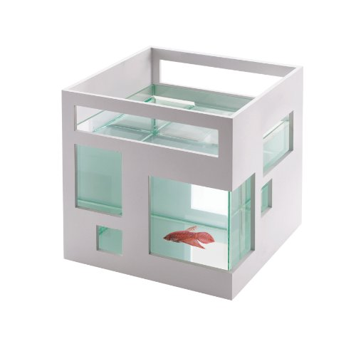 Umbra FishHotel Mini Aquarium, Great for Goldfish, Bettas, and Other Small Fish, 2 Gallon
