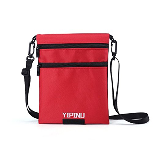 Sample9 Travel Neck Pouch Passport Cards Holder 2 Side Adjustable Lanyard Hidden Wallet - Red from Sample9