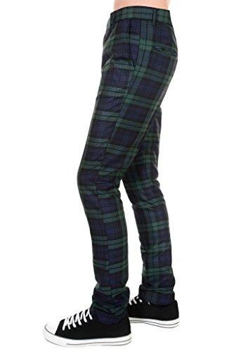 60s Mod Clothes - Mens 60s Vintage Retro Mod Blackwatch Slim Skinny Fitting Trousers 38L