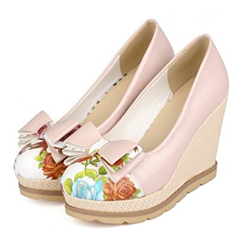 Shoes Women Size Plus Bowknot Thin pink Heel Chromatic 36 Slipsole High qEd1w4Zx