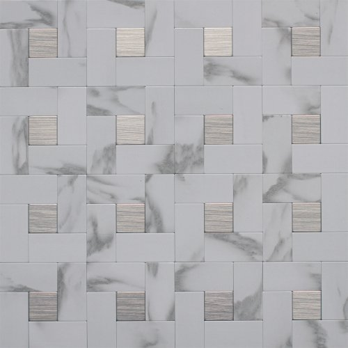 Instant Mosaic 6-03-108 Peel'n'stick Metal Mosaic Wall Tile , 12' x 12'