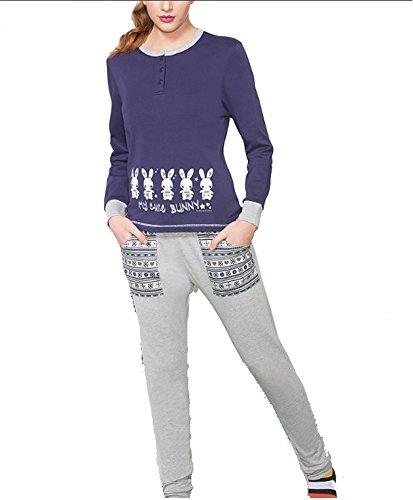 Pigiama donna invernale Buccia di Mela in caldo cotone interlock TG S M L XL colori: maglia grigia pantalone blu o maglia blu pantalone grigio