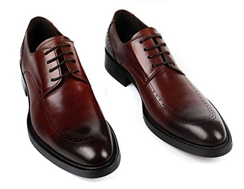 SYYAN Scuro Vestito Marrone Uomo Pack Pelle brown Pointy Oxford Il Wingtip 41 qrUWTgqzn