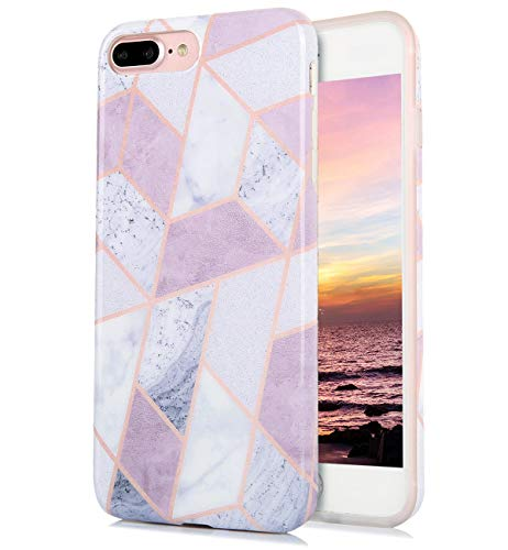 (iPhone 8 Plus iPhone 7 Plus Case Cute Floral White Purple Marble Pattern IMD Hybrid Hard TPU Back Cover Shockproof Protective Fun Phone Cases for Women Girls Men Boys[5.5