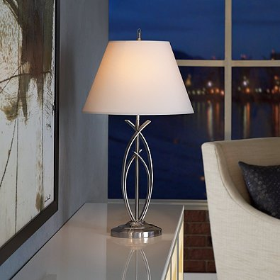 Curve Brushed Nickel Table Lamp with Three way lighting.