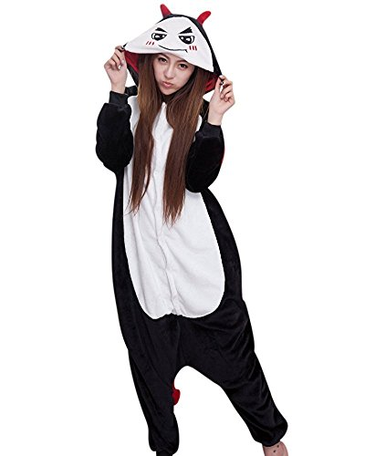 ABING Halloween Pajamas Homewear OnePiece Onesie Cosplay Costumes Kigurumi Animal Outfit Loungewear,Demon Adult XL -for Height (Demon Costume For Girls)