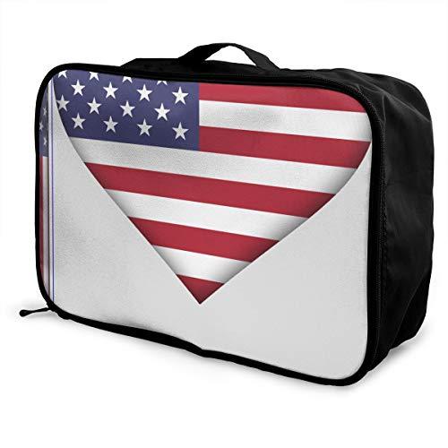 (Us Flag 3D Art Flagpole Heart Travel Lightweight Waterproof Foldable Storage Carry Luggage Large Capacity Portable Luggage Bag Duffel Bag)