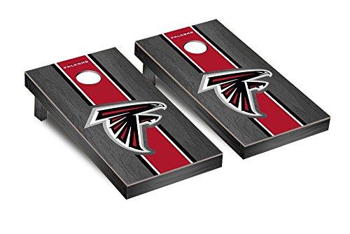 Atlanta Falcons NFL Football Regulation Cornhole Game Set Onyx Stained Stripe Version 2