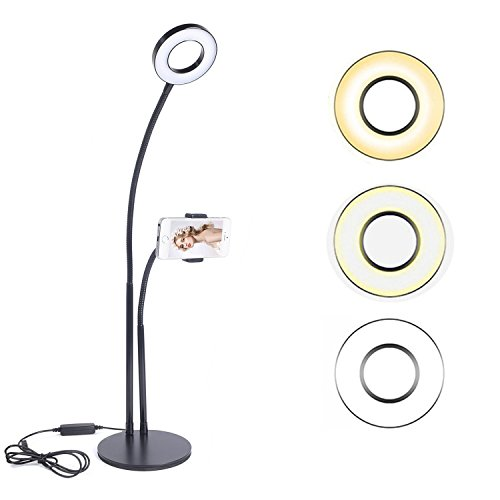 Selfie Ring Light with Cell Phone Holder Ring Light for Live Stream 2 in 1 Live Broadcast Stand for Video Chat, 3-Level Brightness Selfie Light, Cell Phone Stand for Smartphone Black (Light Chat)