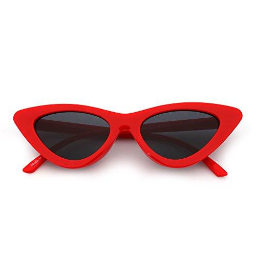Soleil de Lunettes Teintée Fashion Plastique Chat Femme Clout Gris Goggles Rouge Lentille Œil de d4xqwnXE