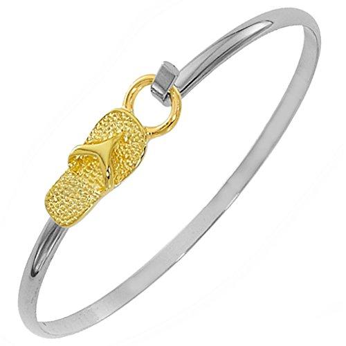 Flip Flop Bracelet Latch Cuff TwoTone by Cape Cod Jewelry-CCJ