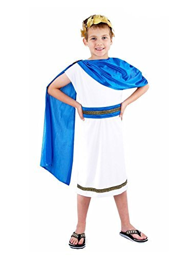 [Childrens Roman Emperor King Toga Caesar Greek Boys Fancy Dress Book Week Kids Outfit (Medium 7-9 Years, Caesar Boy Costume) by N&L Private] (Roman Toga Costume For Kids)