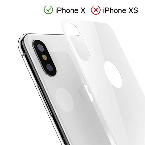 iPhone X Back Screen Protector, Kolpop 3D Full Coverage iPhone X Tempered Glass Back Protector, Anti-Fingerprint Case Friendly Anti-Scrath Back Glass Protector Film for iPhone X (White)