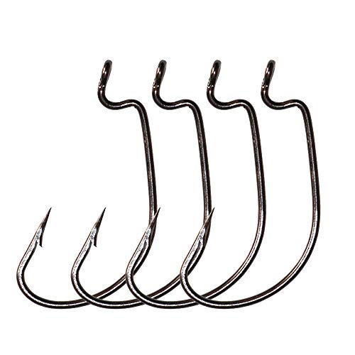 LikeFish 30pcs/Pack Offset Worm Fishing Hooks Black/Red Color Fishing Hook (Black, 3/0)