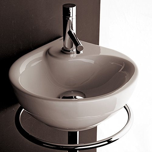 - Lacava Wall-mounted porcelain washbasin with overflow and one faucet hole, 13 3/4