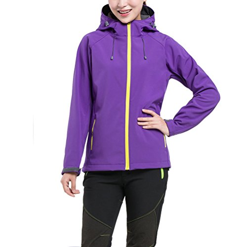 Zhhlaixing Womens Fashion Sports Hooded Soft Shell Coat Waterproof Al aire libre Coat Purple