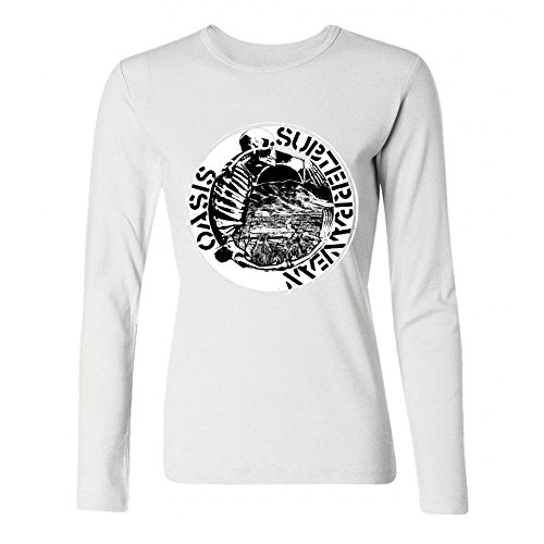 OPEND Women's The Rock Band OASIS Long Sleeve T-shirt White M (Rock White Oasis)