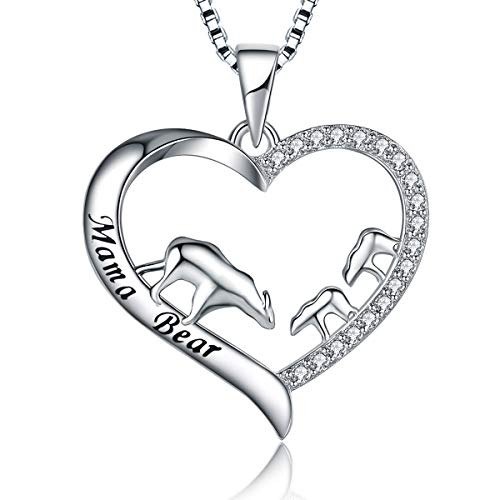 MUATOGIML 925 Sterling Silver Mama Bear Love Heart Pendant Necklace, Mom Daughter Jewelry Gifts, Birthday Gifts for Her