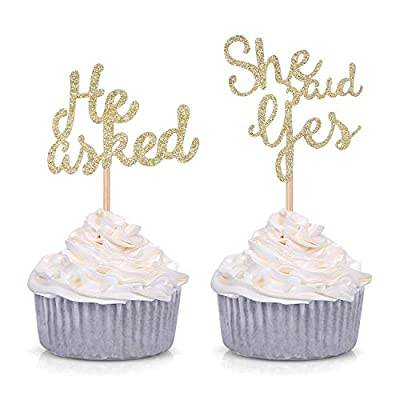 Set of 24 Gold Glitter He Asked/She Said Yes Cupcake Toppers for Wedding/Bridal Shower Decorations