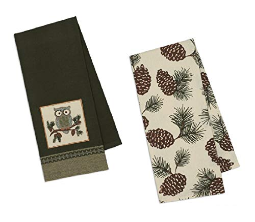 Design Imports Fall Winter Coordinating Embroidered Printed Plaid Cotton Dishtowel Sets 2 Tea Towels (Owl)