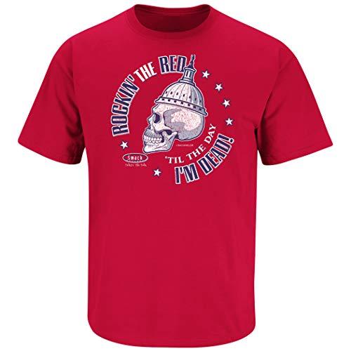 Dead Man Rockin (Washington Hockey Fans. Rockin' The Red 'Til The Day I'm Dead Red T-Shirt (Sm-5X) (Short Sleeve,)