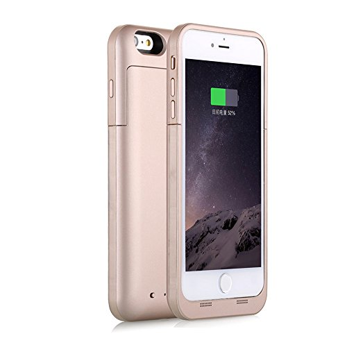 iPhone 6S Plus / 6 Plus (not for iPhone 6 / 6s) Battery Case Charger [Extra Bonus-Tempered Glass Screen Protector], i.VALUX 6800mAh External Battery Backup Protective Charger Case (Gold)