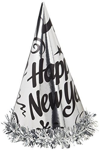 Creative Converting 12 Count Happy New Year Foil Hats with Fringe, Silver