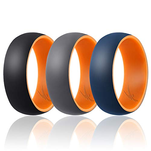 ROQ Silicone Wedding Ring for Men - Duo Collection Dome Style - 3 Pack Silicone Rubber Wedding Bands - Classic Design - Orange-Black, Orange-Grey, Orange-Blue Colors - Size 11