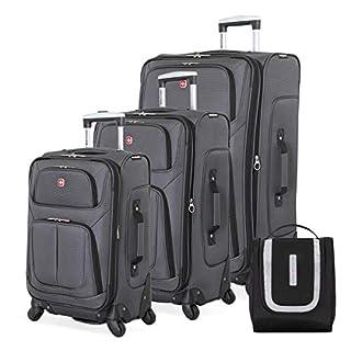SWISSGEAR 6283 Amazon Exclusive Premium 3pc Spinner Luggage Set with Dopp Kit Bundle- Dark Grey
